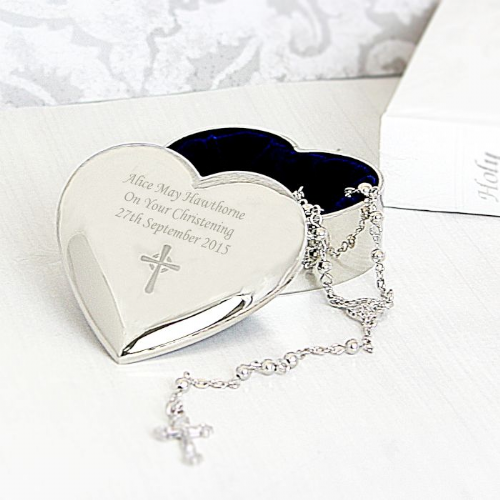 Personalised Silver Heart Trinket Box with Rosary Beads Gift